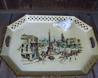 Large Trafalgar Square Nashco Tray London Artist Charles Nashco Products Large Metal Tray Reticulated Edge