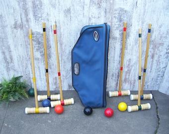 6 Wood Croquet Set Striped Mallets Sports Decor Lawn Game Complete Set Canvas Bag
