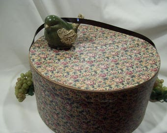Large Floral Hat Box with Brown Vinyl Strap Very Old Needlepoint Floral Looking Pattern Small Rose Floral Pattern