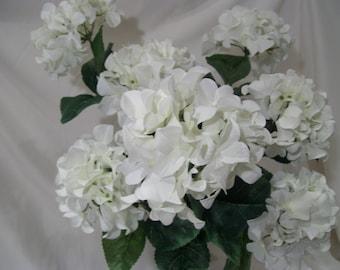 White Hydrangea Bush,7 Blooms,Silk Hydrangea Bush