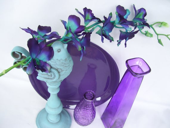 4 Stems Teal Purple Ca Dendrobium Orchids Silk Flower Etsy