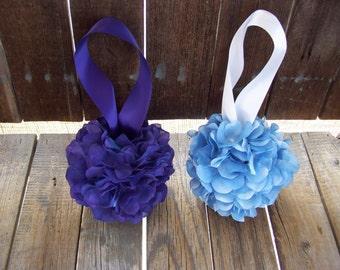 SALE Purple OR Blue Hydrangea Kissing Balls,Large or Small Sizes,Flower Girl,Pomander, Wedding