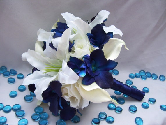 Michaels silk bridal bouquet with blue violet dendrobium etsy image 0 mightylinksfo