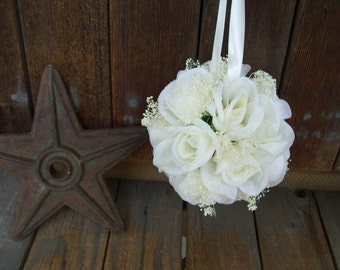 Babies Breath and Ivory Rose Kissing Ball,White Ribbon,Flower Girl,Pomander, Rose Ball,