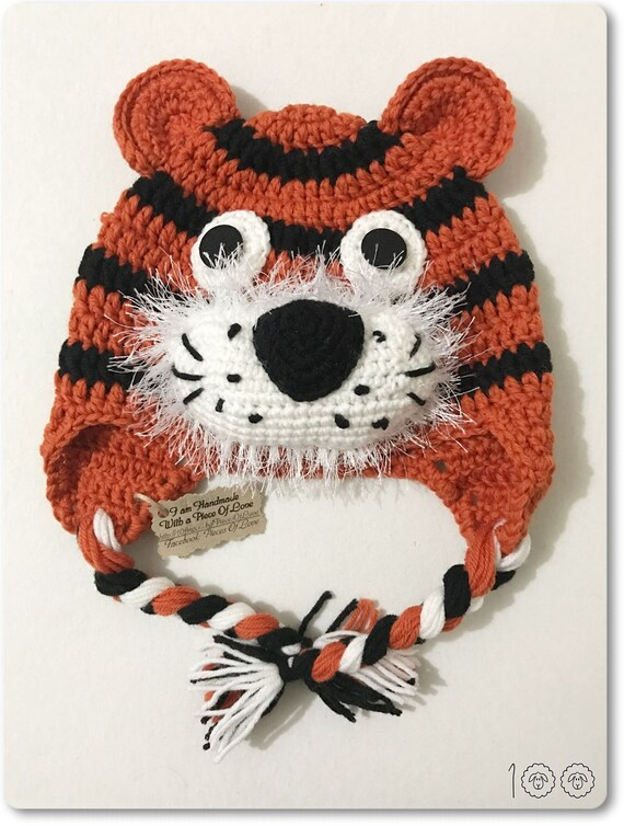 Tiger Hat Present for a boy Halloween mask Crochet Tiger Hat  b2ee81a206a