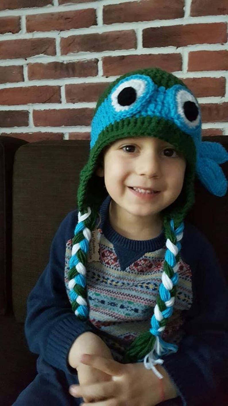 9dd49461a95 Leonardo Hat Present for a boy Crochet Turtle Hat Funny