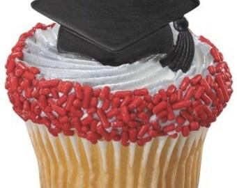 Grad Cap- Cupcake Rings Set of 12