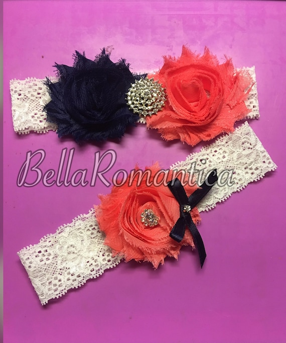 Items Similar To Coral And Navy Blue Wedding Garter