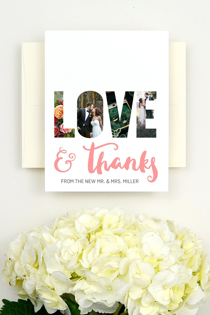 Garden Wedding Personalized Thank You Cards Wedding Photo Printed Wedding Thank You Cards with Photo
