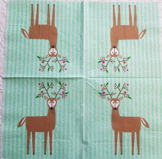 2 single Paper Napkins for DECOUPAGE Crafts Collection Kids Christmas New Year Deer Animals
