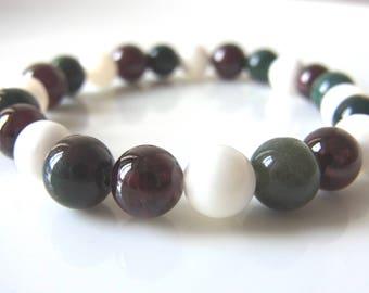 X'MAS Colour - Vitality B - Bllodstone, Garnet and Mother of Pearl Gemstone Crystal Healing Meditation Yoga Mala Spiritual Bracelet - UK