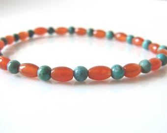 New Journey - Carnelian and Natural Genuine Turquoise Gemstone Healing Crystal Mala Spiritual Meditation Yoga Bracelet - UK seller