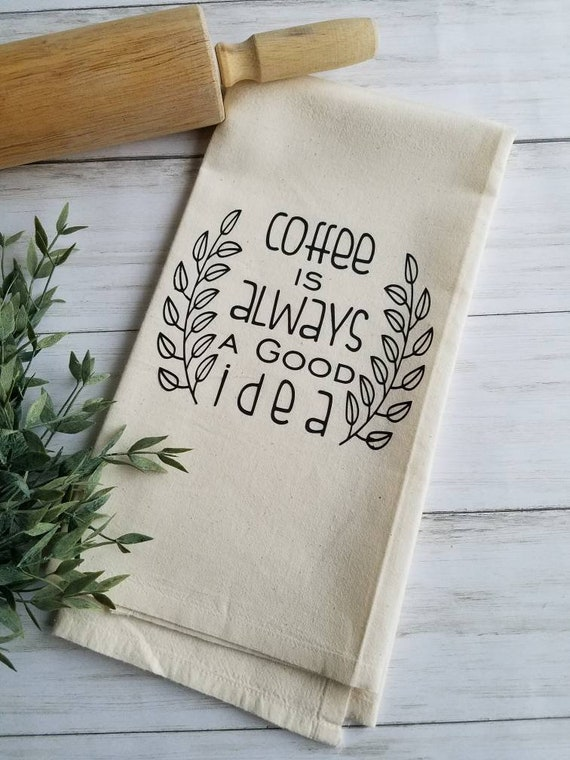 Coffee Kitchen Decor Kitchen Towels Coffee Sayings Coffee Etsy