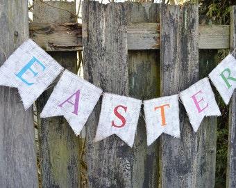 EASTER BUNTING - Easter Decor - Easter Burlap Banner - Easter Photo Prop Burlap Banner - Easter Decor
