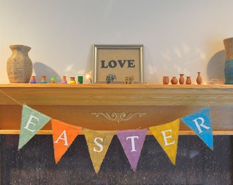 Happy Easter Burlap Banner -Easter Photography Prop Burlap Banner - Easter Decor
