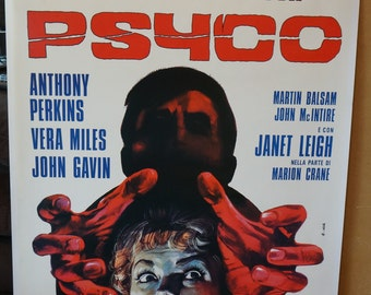 "Psycho   MOVIE POSTER  ""Psycho""   Italian Movie Poster One-Sheet     RARE!!"
