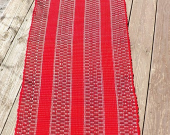 "Handwoven Wool Rag Rug/Runner  27"" wide, 5 Feet Long"