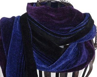Handwoven Chenille Scarf  in Black, Blue & Violets