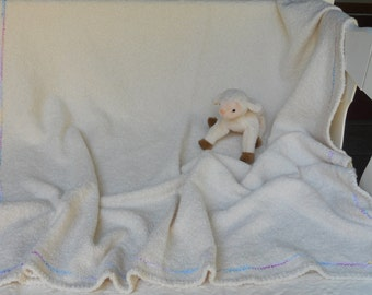 Handwoven Baby Blanket in a Natural Undyed Premium Cotton Boucle BA01