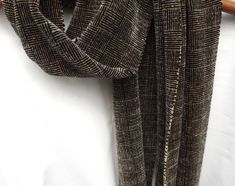 Rayon Chenille Handwoven Scarf for Men or Women in Black & Taupe