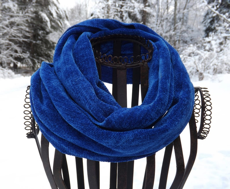 be3da8833 Handwoven Rayon Chenille Scarf Royal Blue Featuring a No | Etsy
