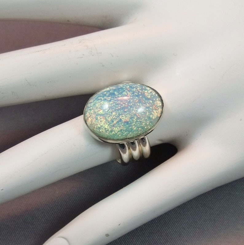 Handcrafted Opal Statement Ring Vintage Aqua Opal Sterling Silver Ring Aqua Opal Sterling Statement Ring