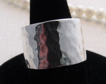 Custom Handcrafted Sterling Silver Wide Hammered Band.