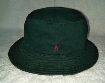 Vintage Polo Ralph Lauren Classic Pony Bucket Hat Bear Hunting Sportsman  Spell Out Stadium a12bac24e17
