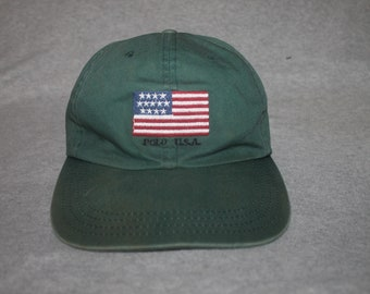 5377d289cc0 Vintage Polo USA Ralph Lauren Cap Hat Spell Out Stadium Sportsman Crest Bear