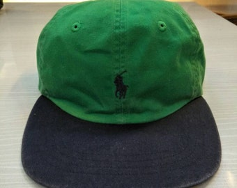 ee1820d9086 Vintage Polo Ralph Lauren Pony Cap Hat 2 Tone Sportsman Hunting Golf  Stadium Crest Spell Out Script