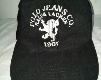ca76d40af65 Vintage Polo Jeans Ralph Lauren Cap Hat Spell Out Sportsman Stadium Golf  Ski Crest