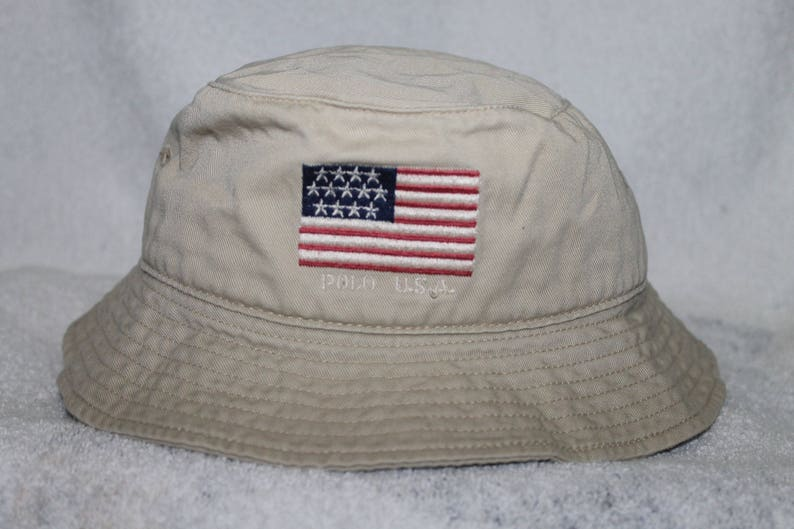 Vintage Polo USA Flag Ralph Lauren Bucket Hat Sportsman Ski  ede7b2379fa8