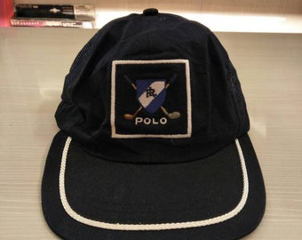 Vintage Polo Ralph Lauren Golf Cap Hat Stadium Sportsman Ski Golf P Wing  Spell Out bbbcee61c6a