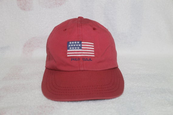 70c822472b6 Vintage Polo Ralph Lauren USA Flag Cap Hat Stadium Sportsman