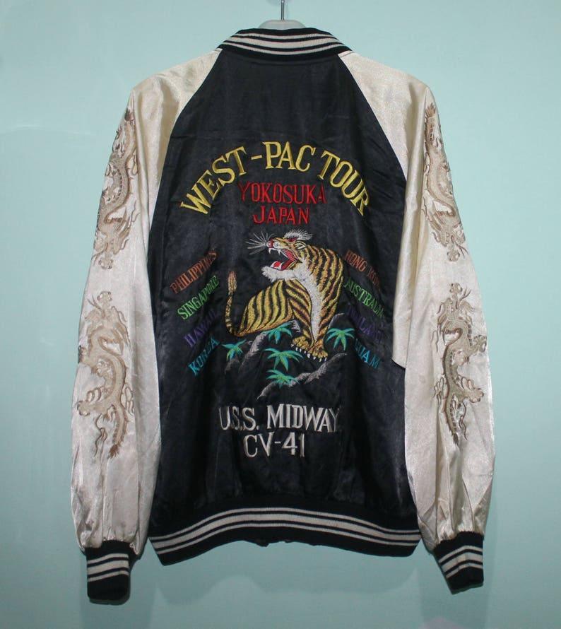 Vintage Sukajan West Pac Tour Yokosuka Japan Tiger Dragon Emroidery Bomber  Jacket