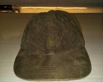 Vintage Polo Ralph Lauren Ponny Corduroy Cap Hat Stadium Sportsman Ski Golf  P Wing Spell Out 299d35fe3e8