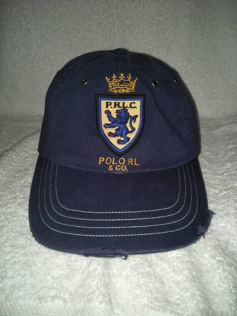 77dc80ed Vintage Polo Ralph Lauren PRLC Distressed Cap Hat Stadium   Etsy