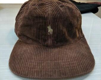 Vintage Polo Ralph Lauren Pony Corduroy Cap Hat Sportsman Hunting Golf  Stadium Crest Spell Out Script 3d2e42d4f24