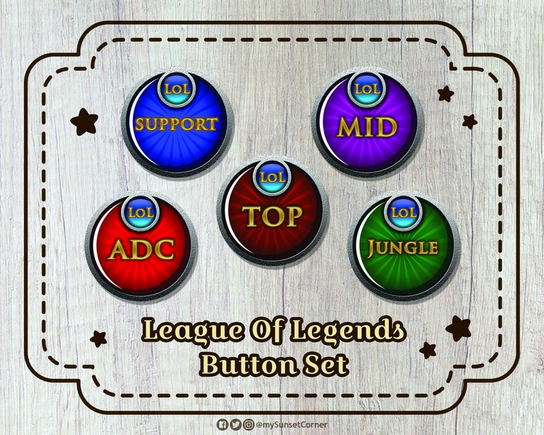 League Of Legends Player Role Button Set | Top Mid ADC Jungle Support