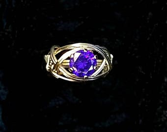 Birthstone Ring Wire Wrapped Jewelry Handmade in Silver FREE SHIPPING