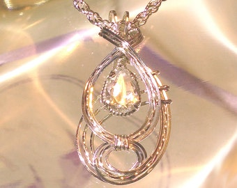 White Sapphire Womens Pendant Wire Wrapped Jewelry Handmade in Silver FREE SHIPPING