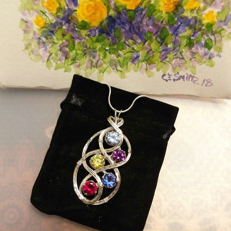 Mom and Child Birthstone Necklace Pendant With Multiple image 0