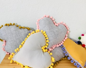 Linen heart pillows with pompom trim