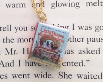 Handmade Little House on the Prairie Miniature Book Charm Necklace // Laura Ingalls Wilder Novel Book Necklace