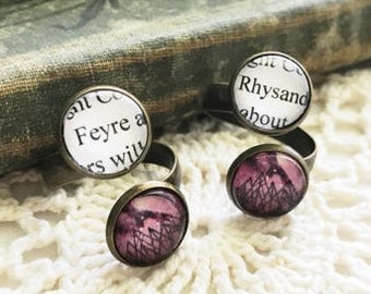Feyre Rhysand Night Court Book Page Adjustable Ring, Book Page Jewelry, Book Page Ring, Sarah J Maas, A Court of Mist and Fury