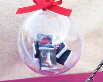 Handmade Cinder Lunar Chronicles Ornament, Marissa Meyer Book Ornament, Mini Book Ornament, Mini Books