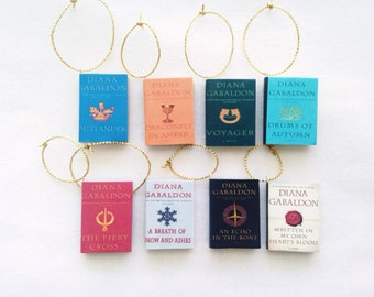 Jewelry to indulge the book lover in you by rosettebelles on etsy handmade outlander ornament set diana gabaldon book ornaments mini book ornaments all eight books fandeluxe Images