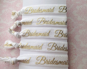 Handmade White and Gold Bridesmaid Elastic Hair Tie Set // Bridesmaids Gifts // Bridal Party // Wedding Gifts