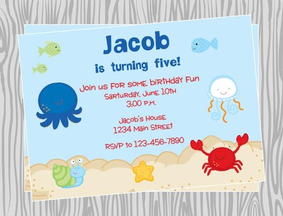 DIY Sea Animals Birthday Party Invitation Coordinating