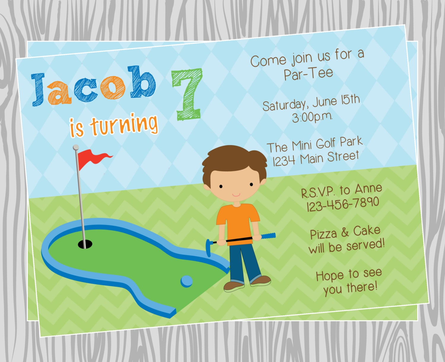 Diy boy mini golf birthday party invitation coordinating etsy zoom filmwisefo